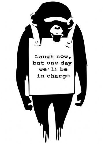 BANKSY - LAUGH NOW MONKEY - Silhouette canvas print - self adhesive poster - photo print